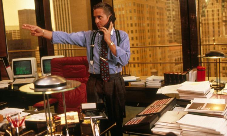 """Michael Douglas è Gordon Gekko in """"Wall Street"""""""